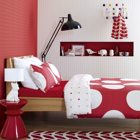 Bold red and white bedroom | Bold bedroom ideas | Colourful bedroom | Bedroom | Image | Housetohome.co.uk