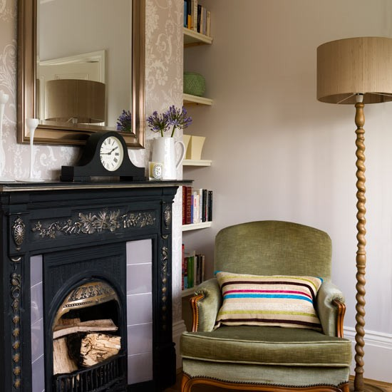 Velvet Armchair And Original Period Fireplace
