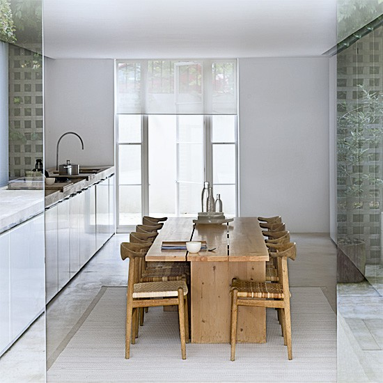 Streamlined white kitchen-diner | Kitchen designs | Dining tables | image | Housetohome