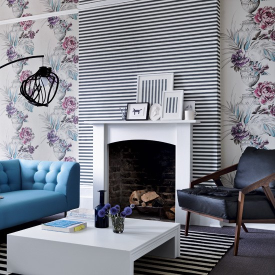 Living room with stripes and florals | Living room designs | Wallpaper | image | Housetohome