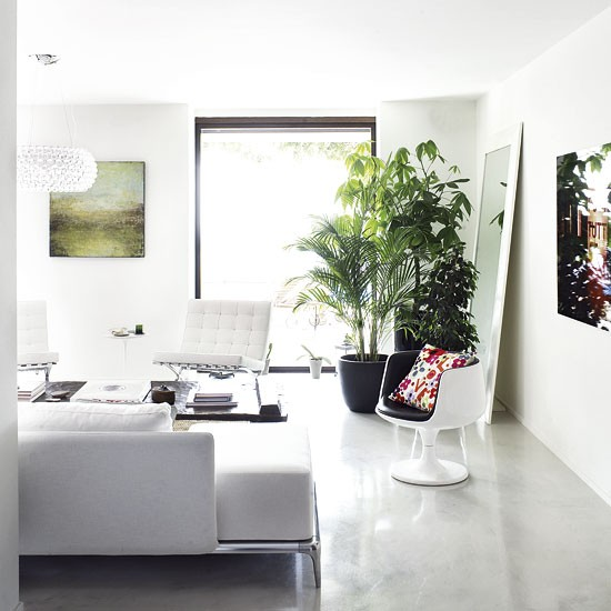White and concrete living room | Living room designs | Chairs | image | Housetohome