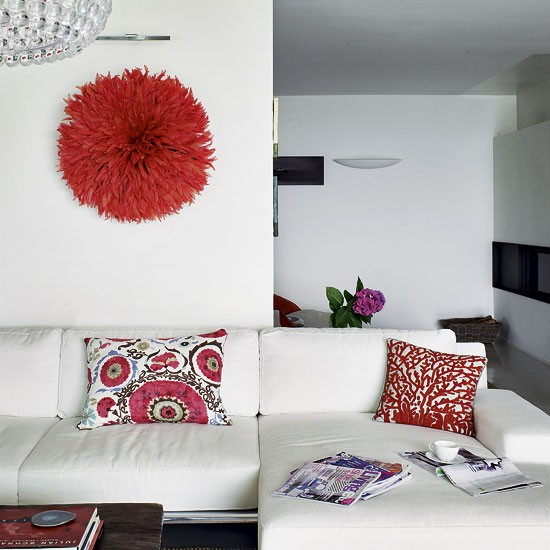 Living room with red headdress feature | Living room designs | Sofas | image | Housetohome