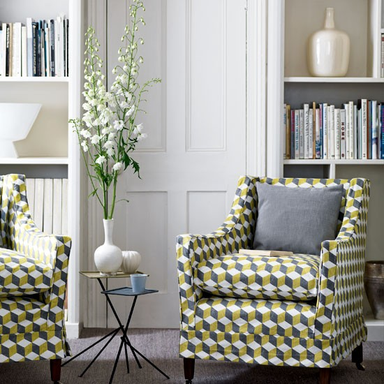 Living room with geometric print | Living room designs | Armchairs | image | Housetohome