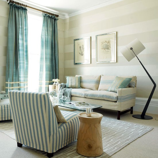 Blue striped living room | Living room designs | Sofas | housetohome.