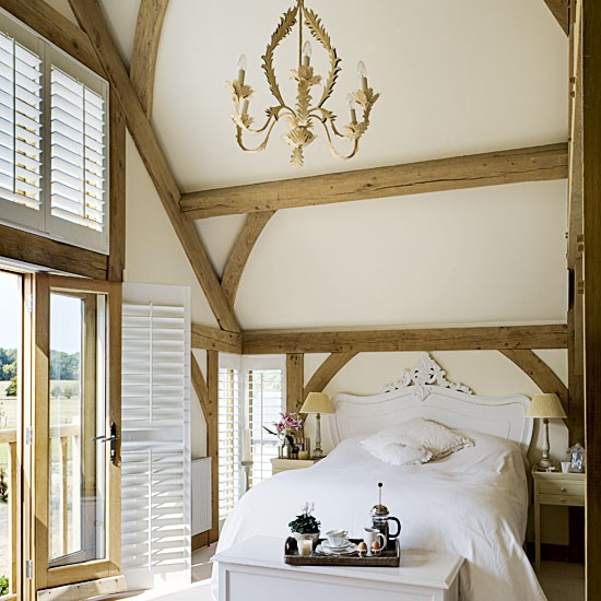 Country bedroom with beams