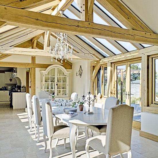 Country dining room with beams | Dining tables | Chandeliers | image | Housetohome