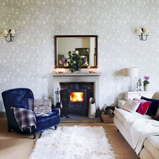 Elegant Country Living Room Living Room Designs Fireplace Image