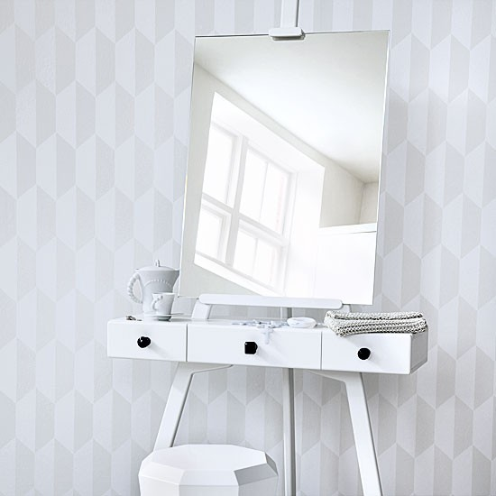 All White Bedroom With Dressing Table Bedroom Decorating