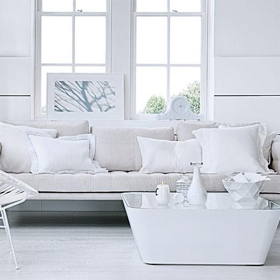 Crisp white living room | Living room design ideas | Sofas | Image | Housetohome