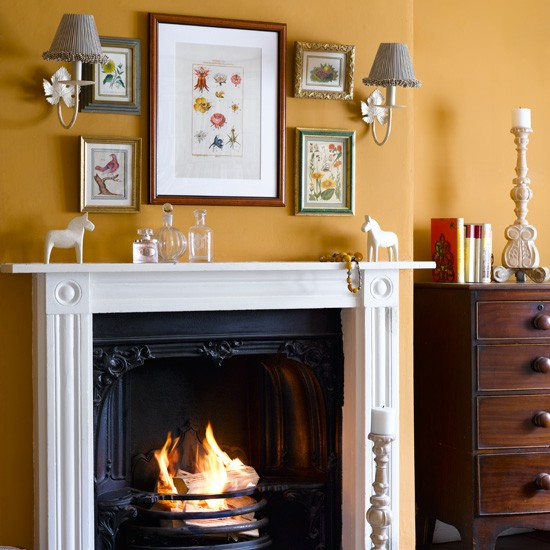 Yellow country-style living room | Living room design ideas | Fireplaces | Image | Housetohome