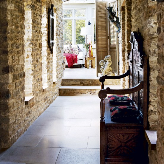 Hallway With Exposed Stone Walls Hallway Designs Small