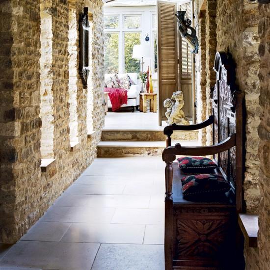 Hallway with exposed stone walls | Hallway designs | Small hallways | Image | Housetohome