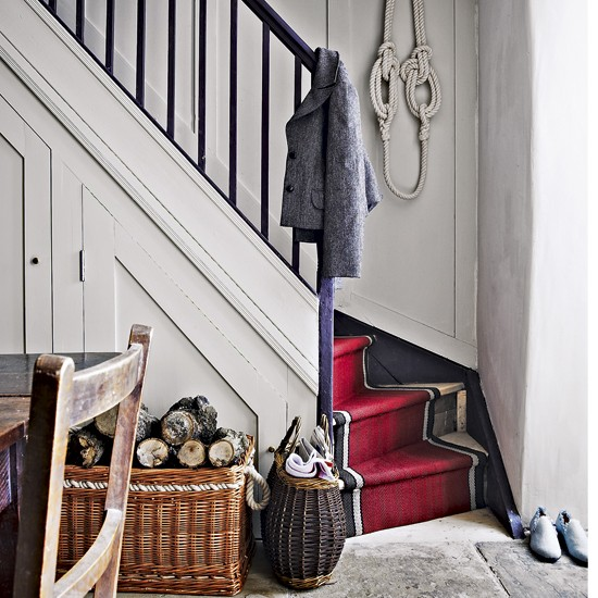 Traditional Rustic Hallway Designs Stairway