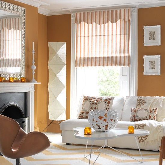 Laranja e sala de estar branca | salas Negrito | cores de pintura | Imagem | Housetohome