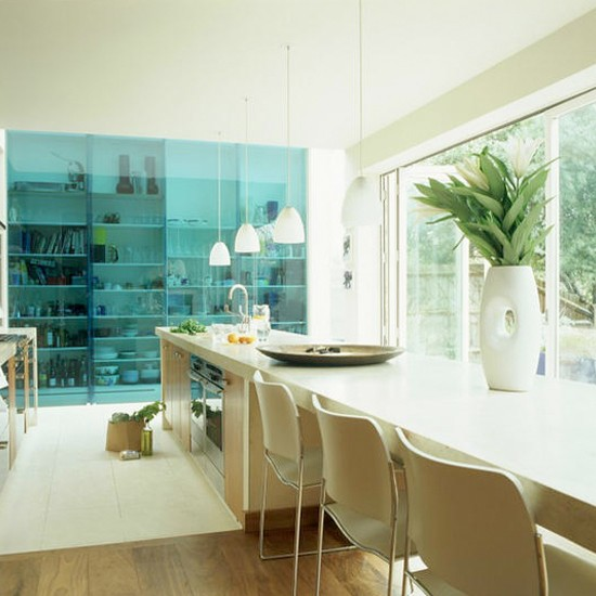 Open-plan kitchen-diner with glass doors | Dining room ideas ...