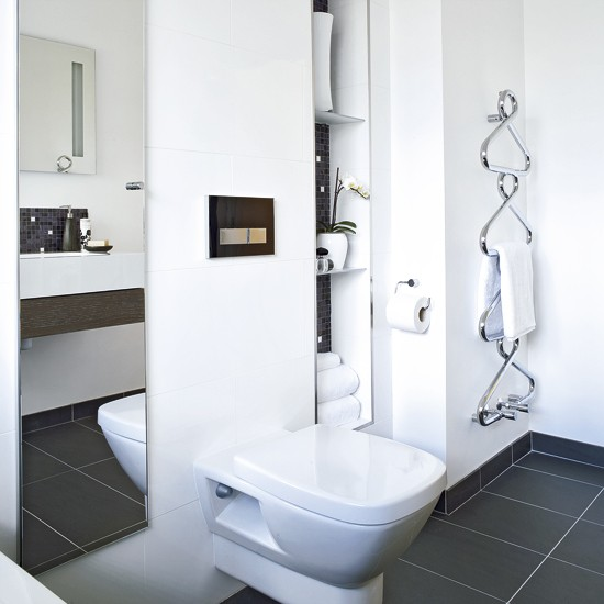 Modern Bathroom With Hidden Storage White