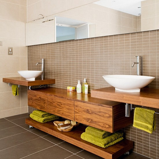 wooden bathroom cabinets where the woodgrain shows create a warm
