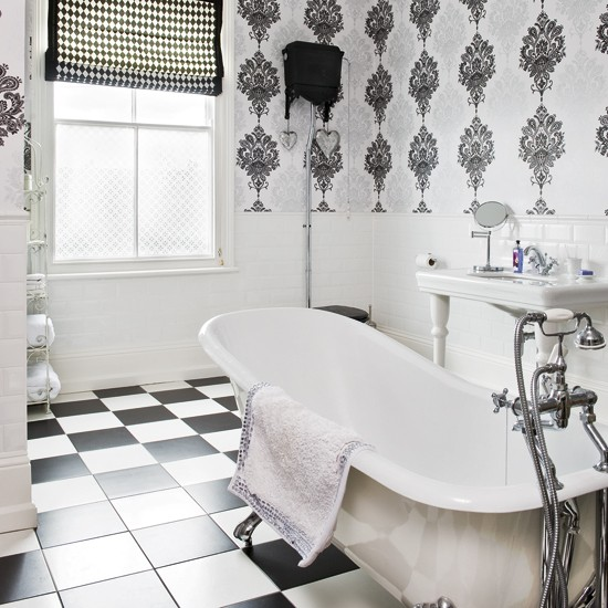 Monochrome bathroom modern bathrooms bathroom for Bathroom wallpaper