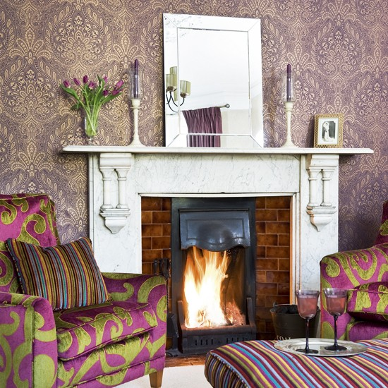 Colourful and glamorous living room living room for Purple living room wallpaper