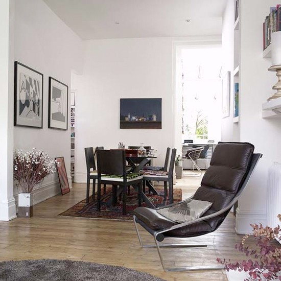 Dining room with modern details   Leather chairs   Dining room ideas
