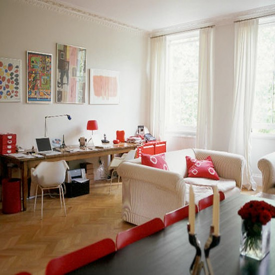 Open Plan Living Ideas Kitchen Living Room: Red Open-plan Living Room