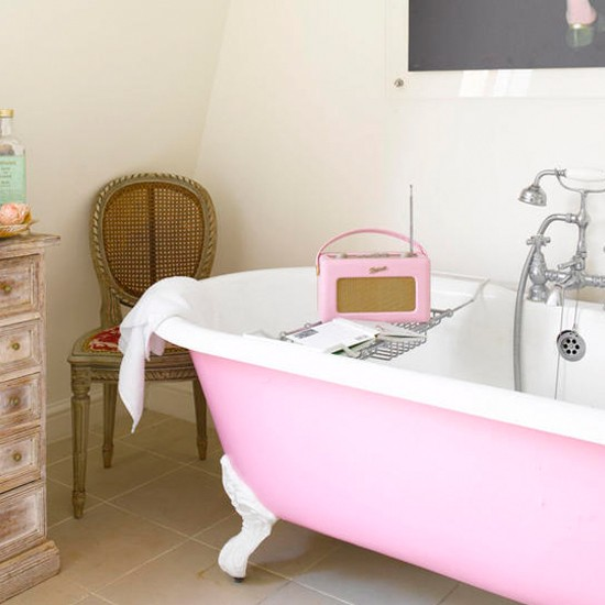 Pink bathroom | Freestanding bath | Bathroom ideas