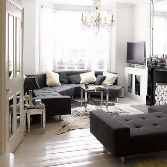 Elegant monochrome living room black and white living for Black white and blue living room ideas