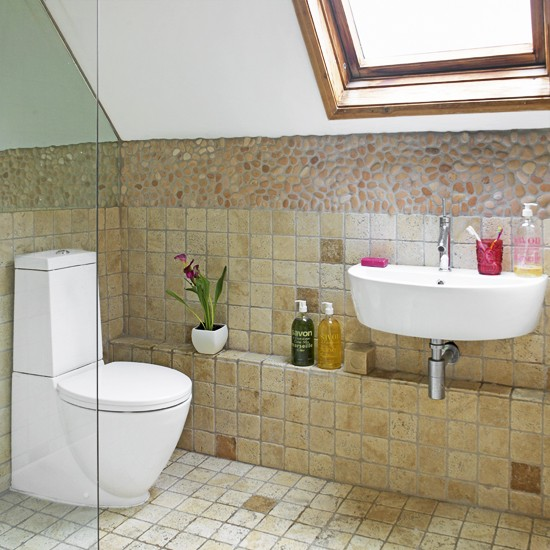 Attic bathroom with sloping ceiling small bathrooms for Small bathroom with sloped ceiling