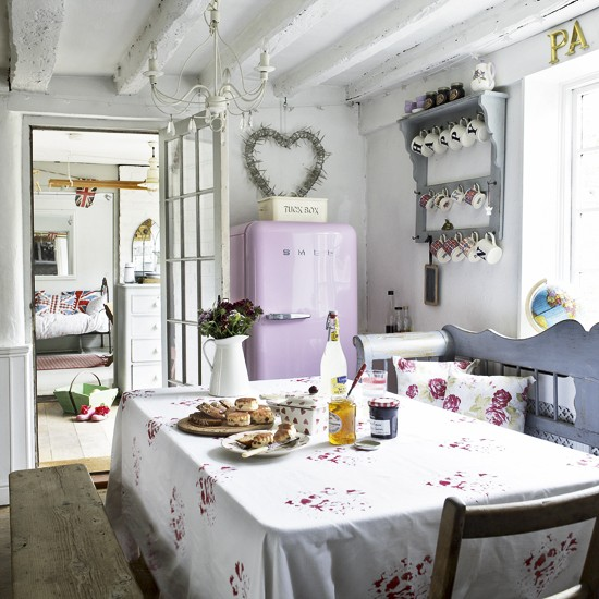 White country kitchen-diner with pink fridge freezer | Country kitchens | kitchens | decorating | Housetohome.co.uk