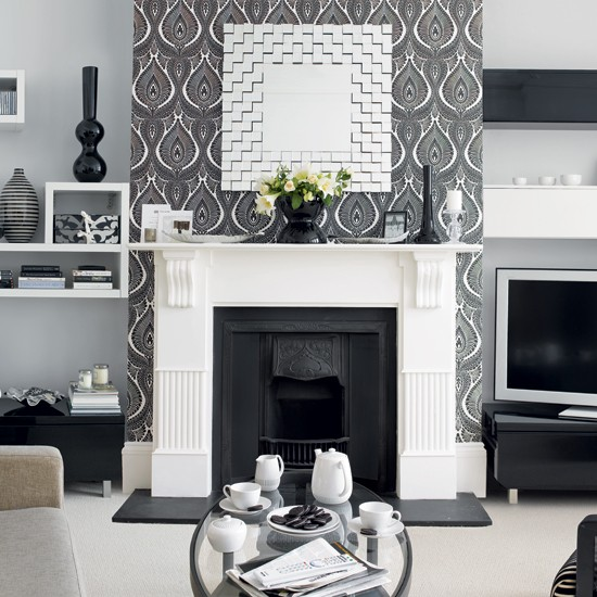 Living room with monochrome wallpaper wallpaper ideas for Wallpaper lounge feature wall