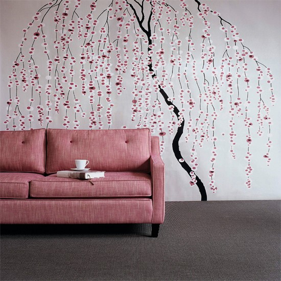Floral stencil living room wallpaper ideas for living for Wallpaper living room ideas