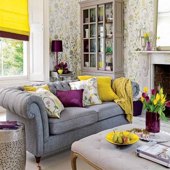 Living room with grey sofa, yellow blind, purple lamp and floral living room wallpaper