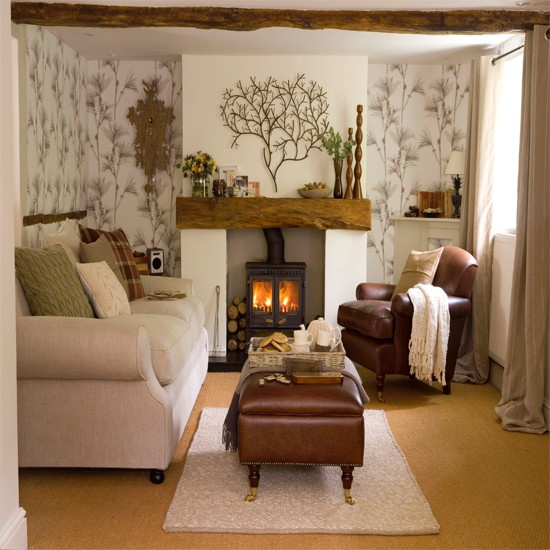 living room with woodland living room wallpaper fireplace neutral