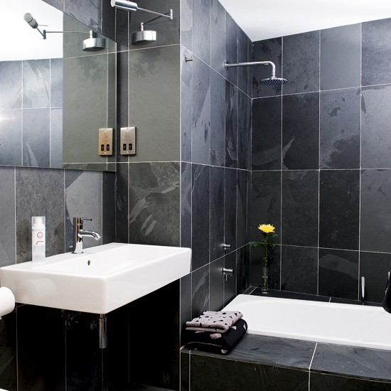 Small black bathroom bathroom designs bathroom tiles for Small bathroom design black and white