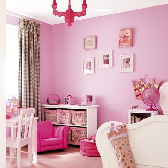 Coloured Girls Pink Kids Bedroom Furniture And: Vibrant Pink Girl's Bedroom
