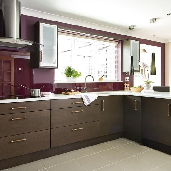 Red kitchen with dark wooden cabinets   Splashbacks   Kitchen storage