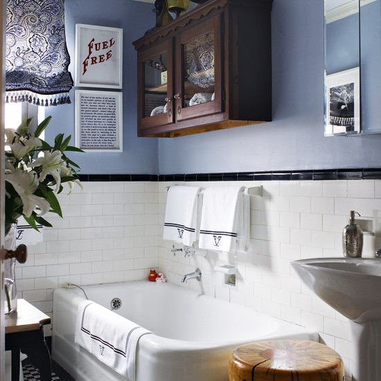 Blue and white bathroom | Bathroom storage | Baths | Image | Housetohome