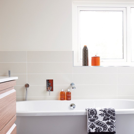 Bathroom With Orange Accents Bathroom Designs Bathroom Accessories