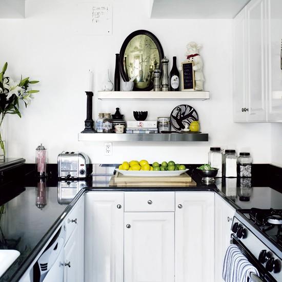 Kitchen Ideas With Black Worktops: Small Monochrome Kitchen
