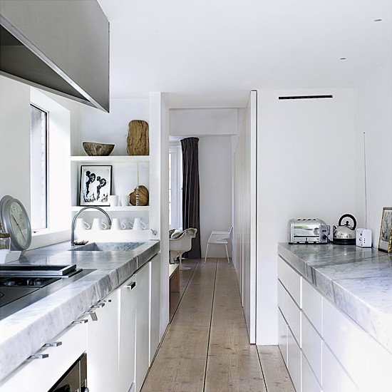 Narrow white kitchen | Small kitchens | Modern kitchens | Image | Housetohome