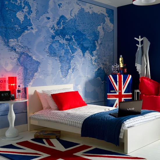 Teenage Boy S Bedroom With Map Mural: 301 Moved Permanently