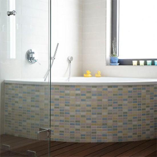 bathroom with tiled corner bath