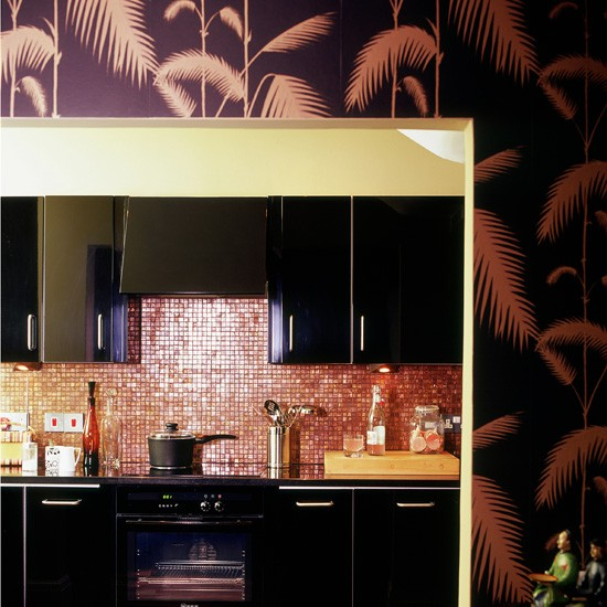 Black and bronze kitchen wallpaper kitchen wallpaper for Kitchen wallpaper ideas
