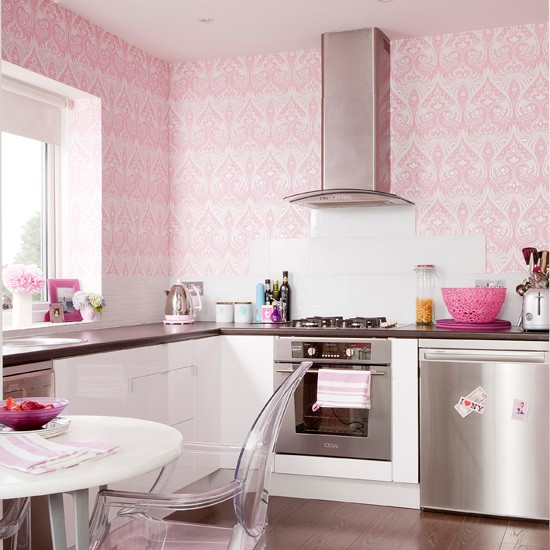 Pink girly kitchen wallpaper kitchen wallpaper ideas for Wallpapered kitchen ideas