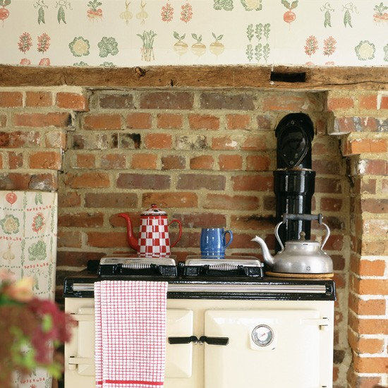 rustic kitchen with fruit and vegetable print wallpaper