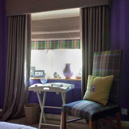 Classic purple bedroom | Bedroom designs | Bedroom chairs | Image | Housetohome