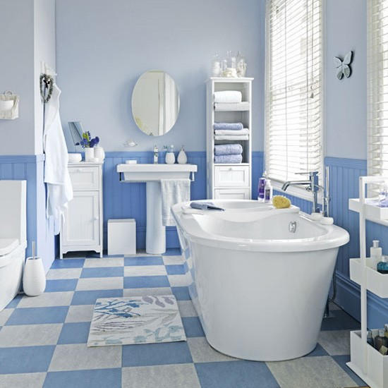 Simple It Isnt Just The Walls That Is Covered With Geometric Patterns But Even The Flooring Too To Create Continuity In The Design A Classic Bathroom With Blue Tiles For The Bath Tub Area Do You Like The Patterns Use It? It Sure Looks Awesome And