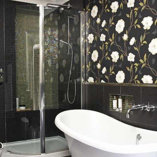 bathroom wallpaper and contrasting tiles bathroom tile ideas
