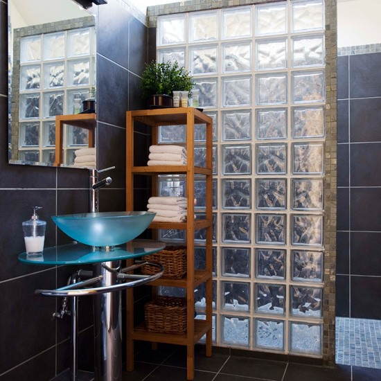 Bathroom with glass tiles Bathroom tile ideas