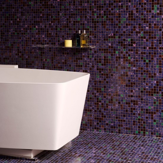 Floor to ceiling purple mosaic bathroom tiles bathroom for Mosaic tile bathroom design